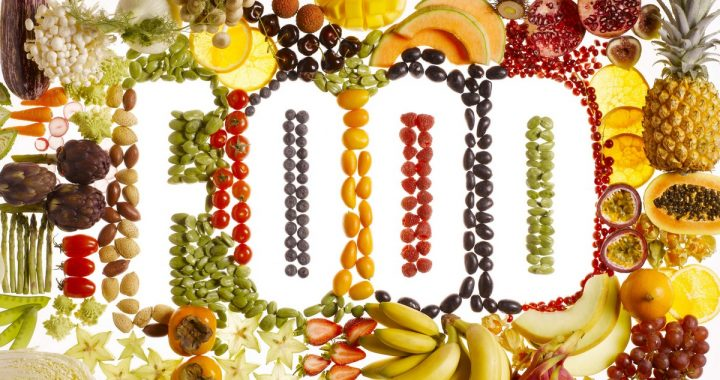 Fruits and vegetables arranged in word 'food'
